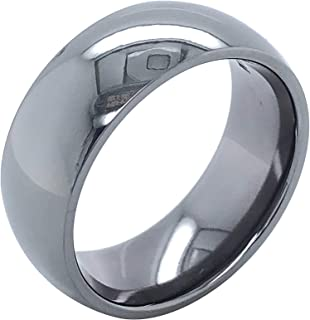 Tantalum 8mm Wide High-Polish Low-Dome Profile Classic Men's or Women's Comfort-Fit Wedding Band Ring