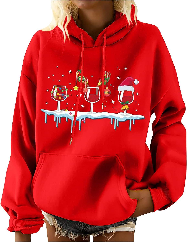 Women Girls Christmas Sweatshirt Funny Xmas Wine Glass Pattern Hoodies Casual Long Sleeve Baseball Shirt for Sports