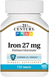 21st Century Iron 27 Mg Ferrous Gluconate Tablets, 110Count