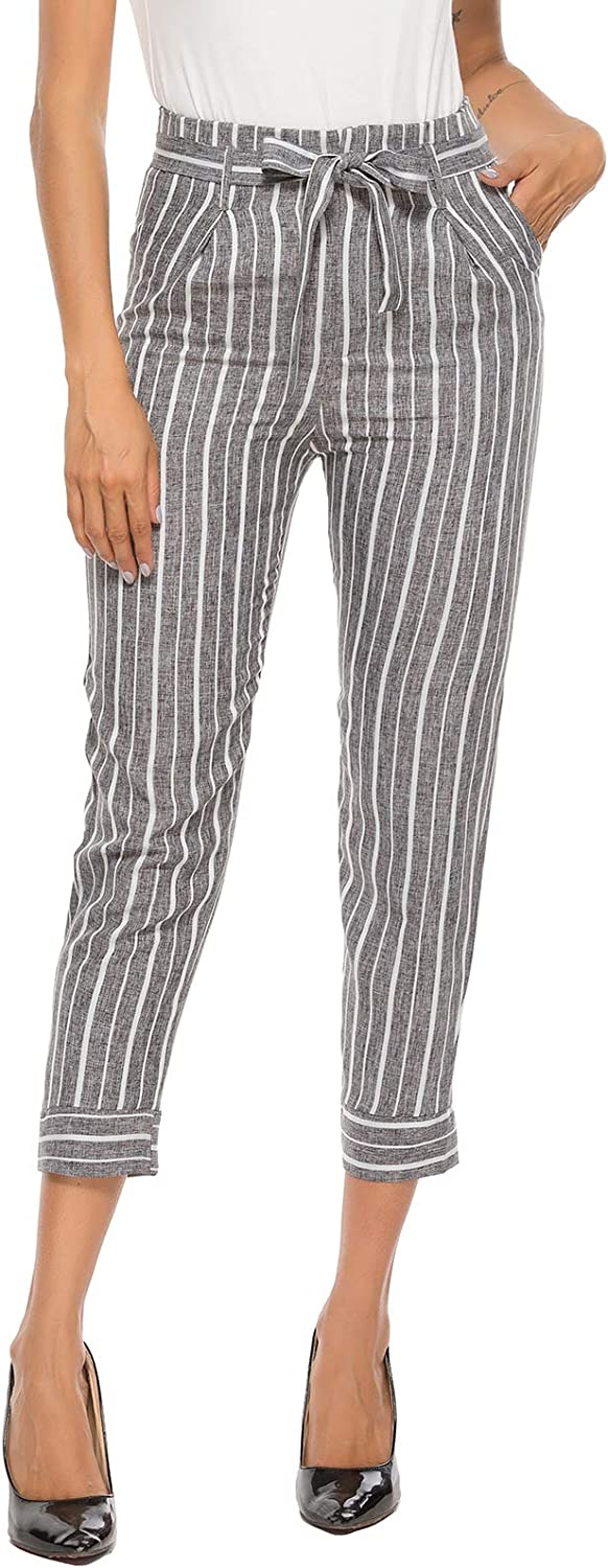 ezShe Women's Casual Cropped Tie Waist Striped Pants with Pockets