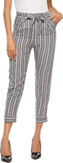 Women's Casual Cropped Tie Waist Striped Pants with Pockets