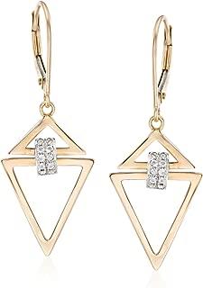 0.10 ct. t.w. Diamond Open Triangle Drop Earrings in 14kt 2-Tone Gold