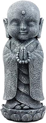 "Ebros Japanese Namaste Praying Jizo Monk Standing On Lotus Flower Figurine 9.75""H Bodhisattva Buddha Kṣitigarbha Jizo Statue"