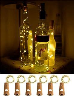 ZJDM Luces para Botellas de Vino con Corcho, Paquete de 6, 20 Leds, Cadena de Luces para Botellas / 6.5 pies (2M), Alambre...