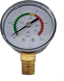 EDENEA Manomètre Spécial Filtre Piscine - 0 à 2.5 Bars avec Plages Couleur - Capteur Pression Filtre Vanne Piscine