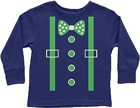 Threadrock Little Boys' Green Tuxedo Bow Tie & Suspenders Toddler Long Sleeve T-Shirt