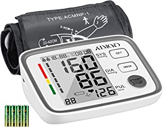 Blood Pressure Monitor Upper Arm, ATMOKO Accurate Automatic Blood Pressure Machine Digital BP Heart Rate Meter for 2 Users, 180 Readings Memory, Large LCD Display, 22-42cm Adjustable Large Cuff