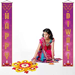 Happy Diwali Hanging Banner,Festival of Lights Party Decor Bunting Garland,Diwali Party Decoration and Supplies