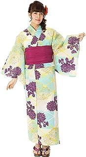 Damen-Yukata von Kyoetsu, Retro-Set, 4-teilig (Yukata / Obi
