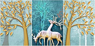 Rangoli Print Deer MDF Wood Reprint Painting for Home Decoration Unique 12 inch or 18 inch Each Size Painting Set of 3 Mul...