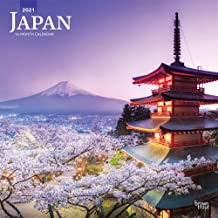 Japan 2021 12 x 12 Inch Monthly Square Wall Calendar, Scenic Travel Asia Cherry Blossoms Tokyo Kyoto Osaka