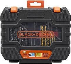 Black+Decker 31-delige bit- en boorset (bestaande uit 5 houten spiraalboren, 8 HSS-TiN metaalboren, 4 steenboren, 10 schro...