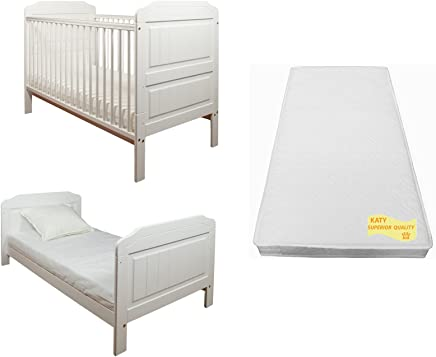 Stanley Cotbed Package WHITE Includes Stanley Cot Bed And Junior Bed PLUS The Best Selling KATY  Sprung Mattress