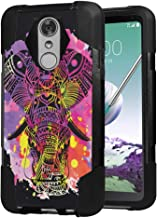 Moriko Case Compatible with LG Stylo 3, LG Stylo 3 Plus [Drop Protection Hybrid Fusion Dual Layer Shockproof Combat Kickstand Black Cover Case] for LG Stylus 3 - (Watercolor Splash Elephant)