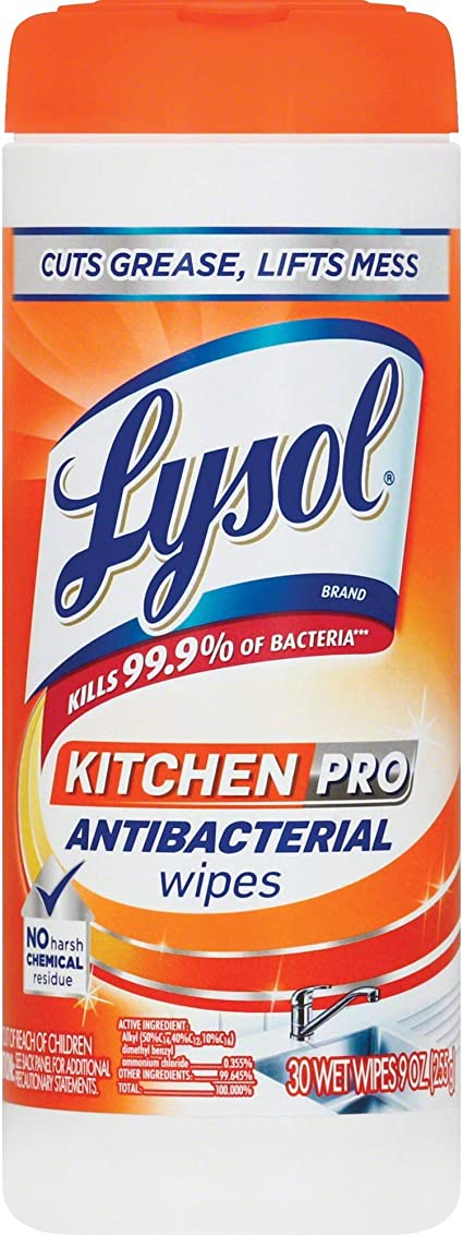 Amazon Com Lysol Kitchen Pro Antibacterial Disinfecting Wipes 30ct No Harsh Chemicals Health Personal Care