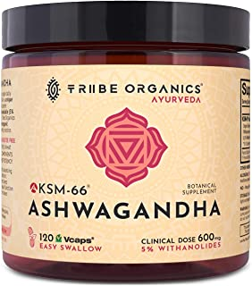 KSM-66 Ashwagandha Full-Spectrum - Organic Root Powder Extract Capsules - High Potency 5% Withanolides - 120 Vcaps - Anxiety Relief, Stress Relief, Adrenal Support, Thyroid Support, Cortisol Manager