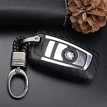 S-WEKA CARBON FIBER STYLE Black Carbon Fiber Texture Car Key Case Cover Holder Pouch Remote Key Chains Key Bag Fit For BMW keyless remote control Smart Key Fob Holder 1/2/3/4/5/6/M/X SERIES X3 X