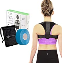 Premium Posture Corrector for Men, Women and Teens, Clavicle Support Underarm Cushions, Kinesiology tape and Carry Bag Included, FDA Approved, Straighten Posture, Maintain Muscle Memory