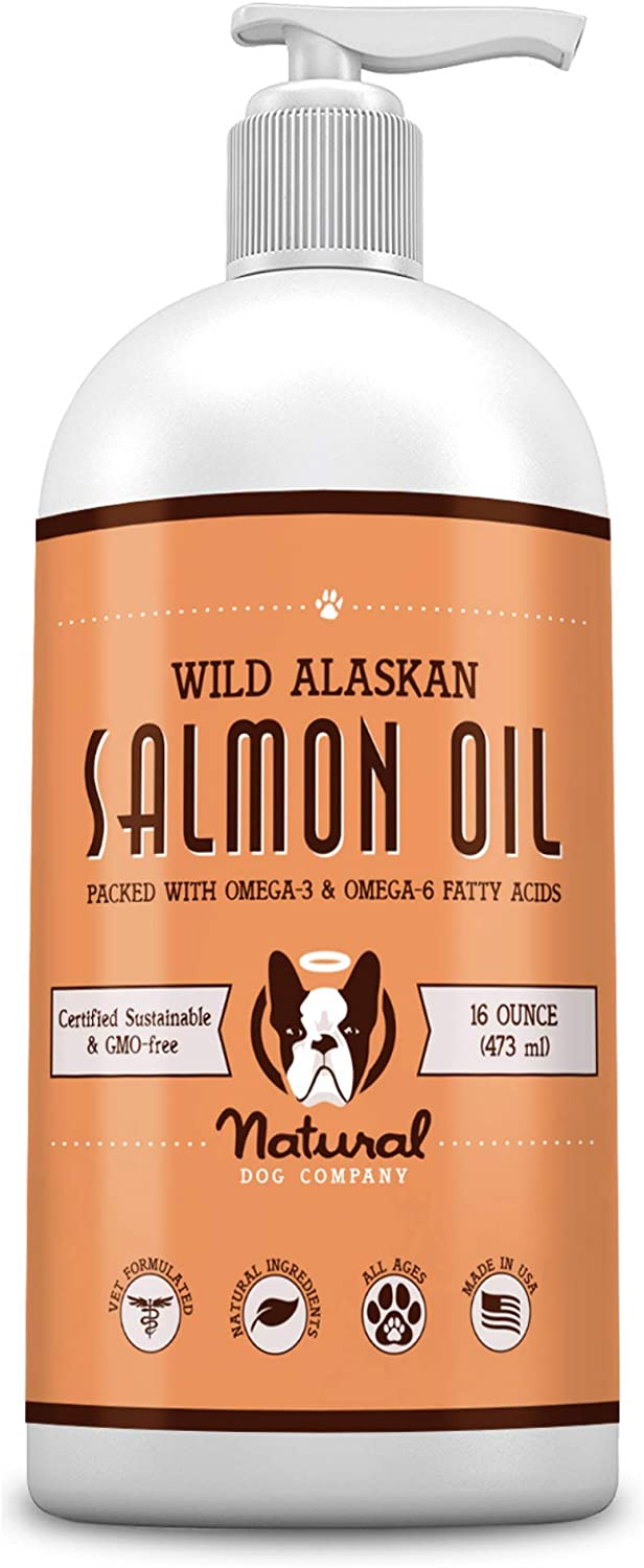 Natural Dog Company Wild Alaskan Salmon Oil for Dogs, Omega 3 & 6 Supplement with EPA & DHA, Supports Immune System, Heart Health, Joint Function, and Skin & Coat, All-Natural