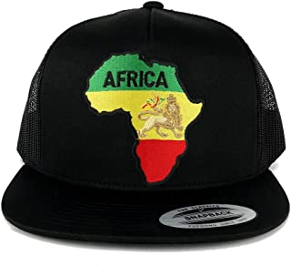 5 Panel RGY Africa Map and Rasta Lion Embroidered Patch Flat Bill Mesh Snapback