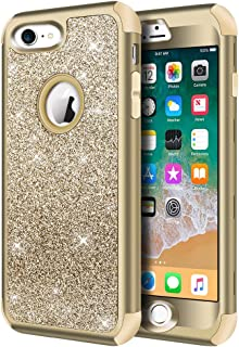 iPhone 8 Case, iPhone 7 Case, Hython Heavy Duty Full-Body Defender Protective Case Bling Glitter Sparkle Hard Shell Armor Hybrid Shockproof Rubber Bumper Cover for iPhone 7 and iPhone 8, Gold