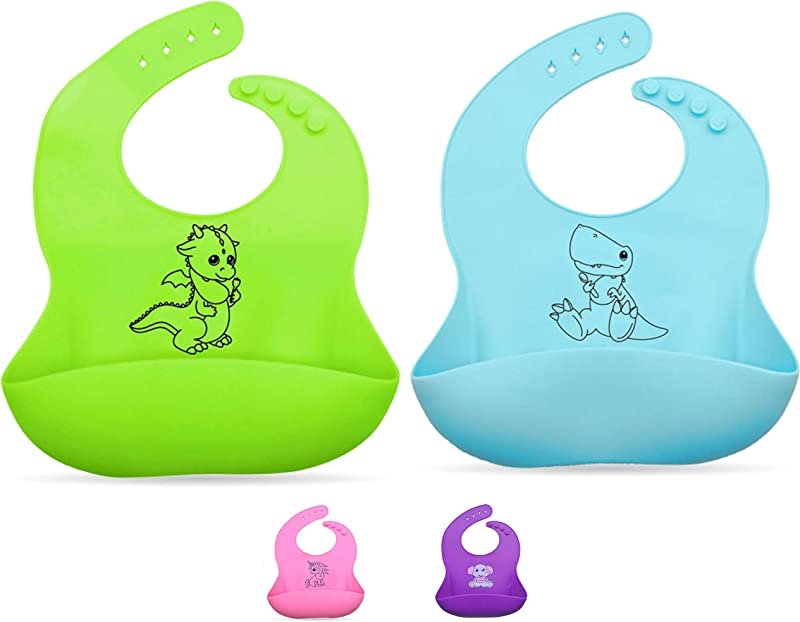 Silicone Baby Bib Set 2 Pcs Green And Blue Soft Waterproof Bibs For Toddlers