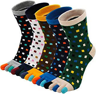 PUTUO, Calcetines Dedos Hombres Running Calcetines de Deportes de Algodón, Hombres Cinco Calcetines del dedo del pie, 39-44, 5 pares