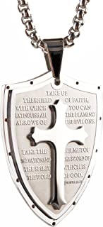Shield Armor of God Ephesians 6:16-17,Faith Cross Stainless Steel Pendant Necklace,Mens Cross Pendant Jewelry Necklace 24