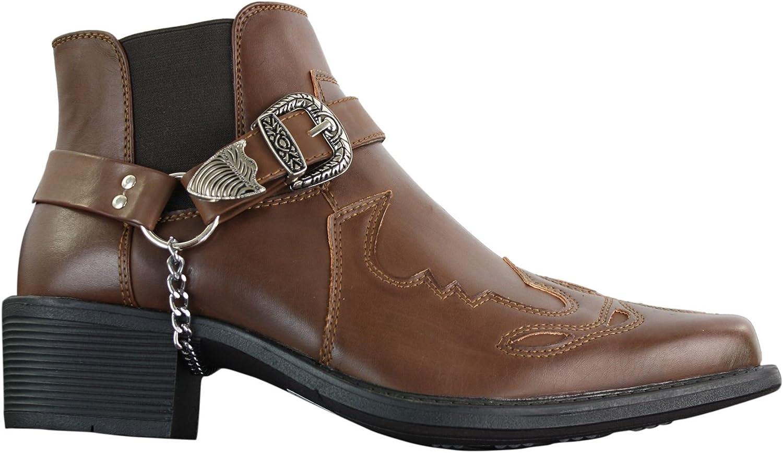 Classique herr Western Cowboy Riding Ankle stövlar stövlar stövlar Texas Line Dancing Buckle På svart 12  försäljning online spara 70%