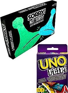 Twist on Classics ダブルシリーズ ボードゲーム Sorry Not Sorry + Flip Uno ゲーム チェンジャー 家族 楽しい ナイト スライド追求&カードタイム 2アイテム