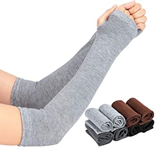 PAMASE 8 Pairs Winter Long Fingerless Gloves Arm Warmers- Knit Elbow Length Stretchy Gloves Thumb Hole for Women Girls