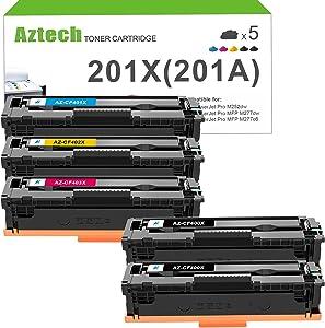 Aztech Compatible Toner Cartridge Replacement for HP 201A 201X CF400X CF400A Color Pro MFP M277dw M252dw M277c6 M277 M252 Printer Ink CF401X CF402X CF403X (Black Cyan Yellow Magenta, 5-Pack)