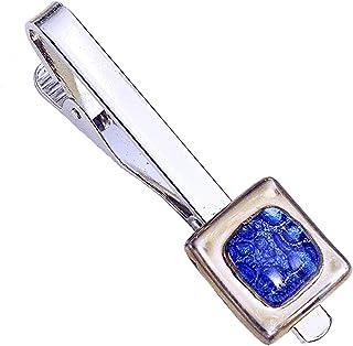 Krawattenklammer • Blau • Krawattennadel • Tschechisches Blasenglas mit Platin überzogen • Handgefertigt