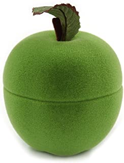 Lime Green Velour Apple Jewellery Box for Small Ring/Stud Earrings