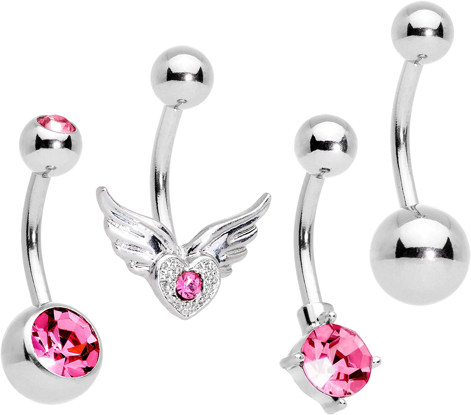 Body Candy 4PC 316L Steel Pink Accent Winged Heart Bonus Pack Belly Button Rings Navel Piercing Set of 4