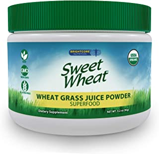 Sweet Wheat Organic Wheat Grass Juice Powder - Raw, Nutritionally Dense Superfood Health Supplement – Rich in Vitamins, Minerals, Amino Acids, and Antioxidants, 90 Grams