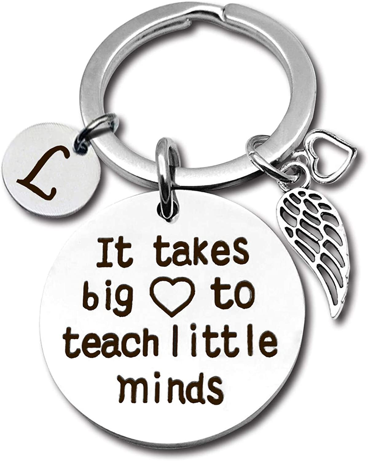 Spiritlele Teacher Appreciation Gift for Women Teacher Keychain with Initial Thank You Gifts for Christmas