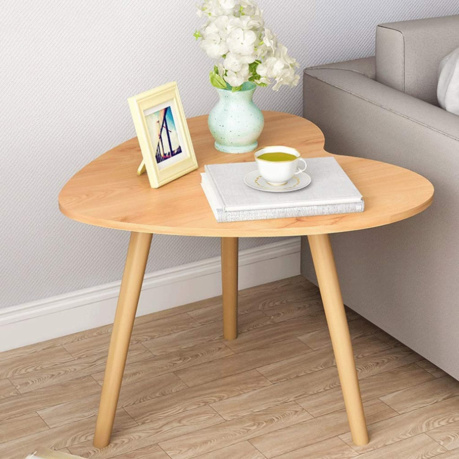 Heart-Shaped Coffee Table Solid Wood End Table Bedroom Bedside Table Sofa Side Table (color   Natural)