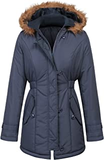 Women's Winter Warm Thickened Zipped Button Down Parka Coat with Removable Fur Hood