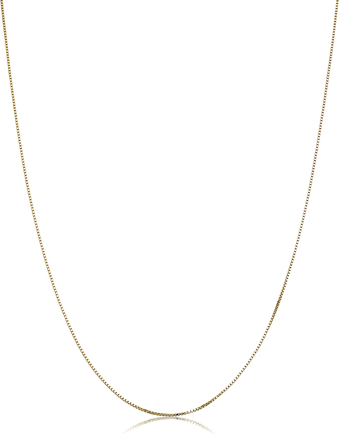 KoolJewelry Solid 14k Yellow Gold Venetian Box Chain Necklace for Women (0.6 mm, 0.7 mm, 0.8 mm or 1 mm) - Thin and Lightweight
