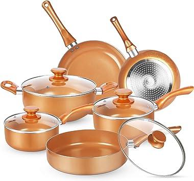 KUTIME 10pcs Cookware Set, Pots and Pans Set, Non-stick Frying Pan Set Copper Ceramic Coating Stock Pot, Sauce Pans, Deep Sau