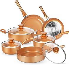 KUTIME 10pcs Cookware Set, Pots and Pans Set, Non-stick Frying Pan Set Copper Ceramic Coating Stock Pot, Sauce Pans, Deep ...