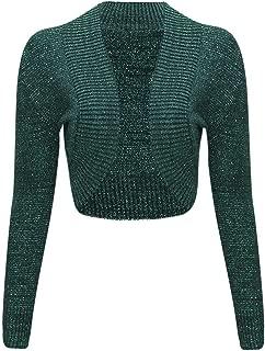 Women Ladies Long Sleeve Knitted Metallic Lurex Shrug Cardigan Bolero Crop Top
