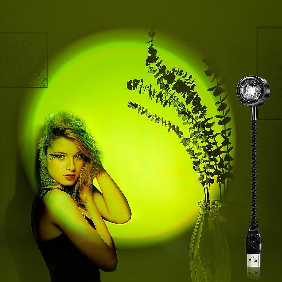 Fuyionsko USB Colorful Sunset Lamp,Sunset Projection lamp,Colorful USB Lamp,7Colors and 13Dimming Modes.USB Sonnenuntergang Lampe.Led lampe .Romantic Mood Lights for Deko Schlafzimmer,Aesthetic Deko