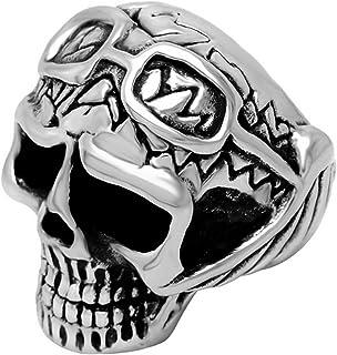 Punk Titanio y Acero Inoxidable Grande Anillo Cráneo Divertido con gafas Joyería hombre