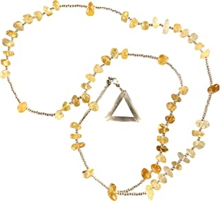 CrystalClear Citrine Rosary - Triangle Pendant Miracles Healing - Prayer Bead Necklace - Powerful Blessed - Brazilian Hand Faceted Natural Crystal