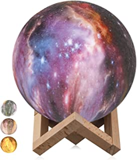 Rquite Starry Sky Moon Lamp, 3D Print Lunar Light 3 Colors Touch Control USB Rechargeable with Wood Stand,LED Night Lights for Kids Lover Christmas Birthday Party Gifts 5.9