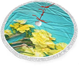 Yellow Orchid Blue Wall Xmas Tree Skirt Durable Xmas Tree Decorations Terylene Terry Christmas Tree Skirt with Tassels Thick Xmas Ornaments Non-Fading Fringed New Year Party Supplies for Christmas