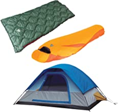 Alpinizmo High Peak USA One 5 Tent/Lite Weight 20F and 20F Sleeping Bag Combo Set, Blue/Orange/Green, One Size
