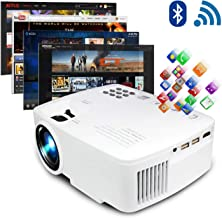 ERISAN Projector Video Home TV Theater, LED Android 6.0 WiFi Bluetooth, 220 ANSI Lumen, Support 1080P Full HD, iOS Compatiable, 2021 Updated Quieter Fan, Mini Smart Video Beam, Multimedia Party Games